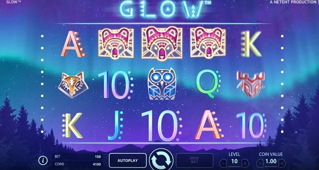 Spela NetEnt Spelautomaten Glow hos Betsson